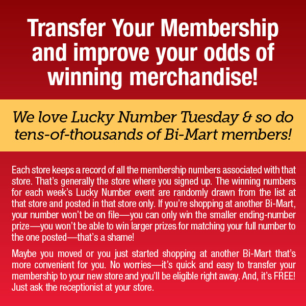 Transfer your membership and improve your odds of winning merchandise!