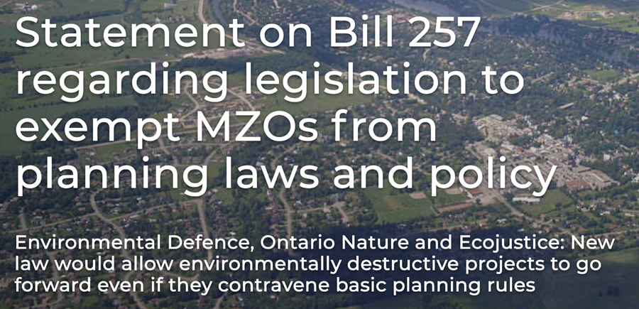 """Aerial photo of town with """"Statement on Bill 257 regarding legislation to exept MZOs from planning laws and policy"""