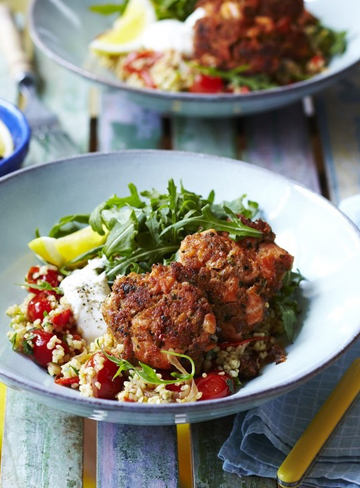 Thai Salmon Cakes with Spicy Capsicum and Cracked Wheat Salad